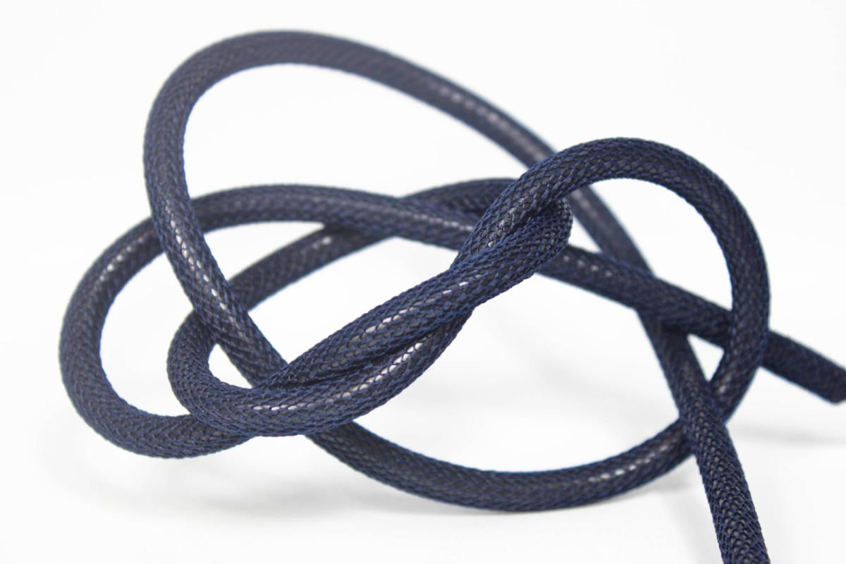 Textilkabel-Hängeleuchte Porzellan dunkelblau netzartig