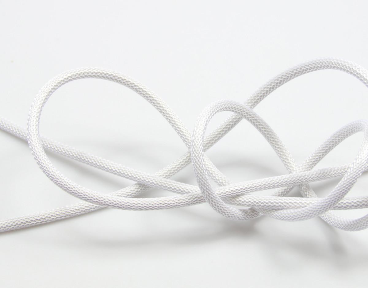 Textilkabel-Hängeleuchte Kunststoff glänzend weiss netzartig