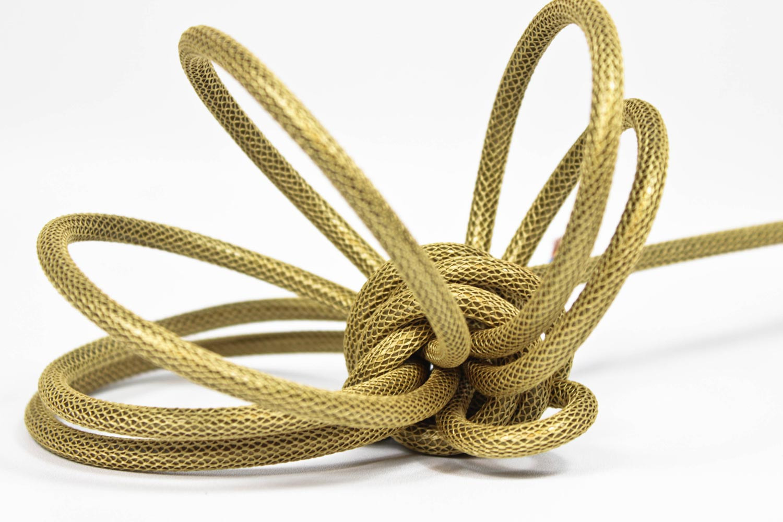 Textilkabel-Hängeleuchte Porzellan gold netzartig