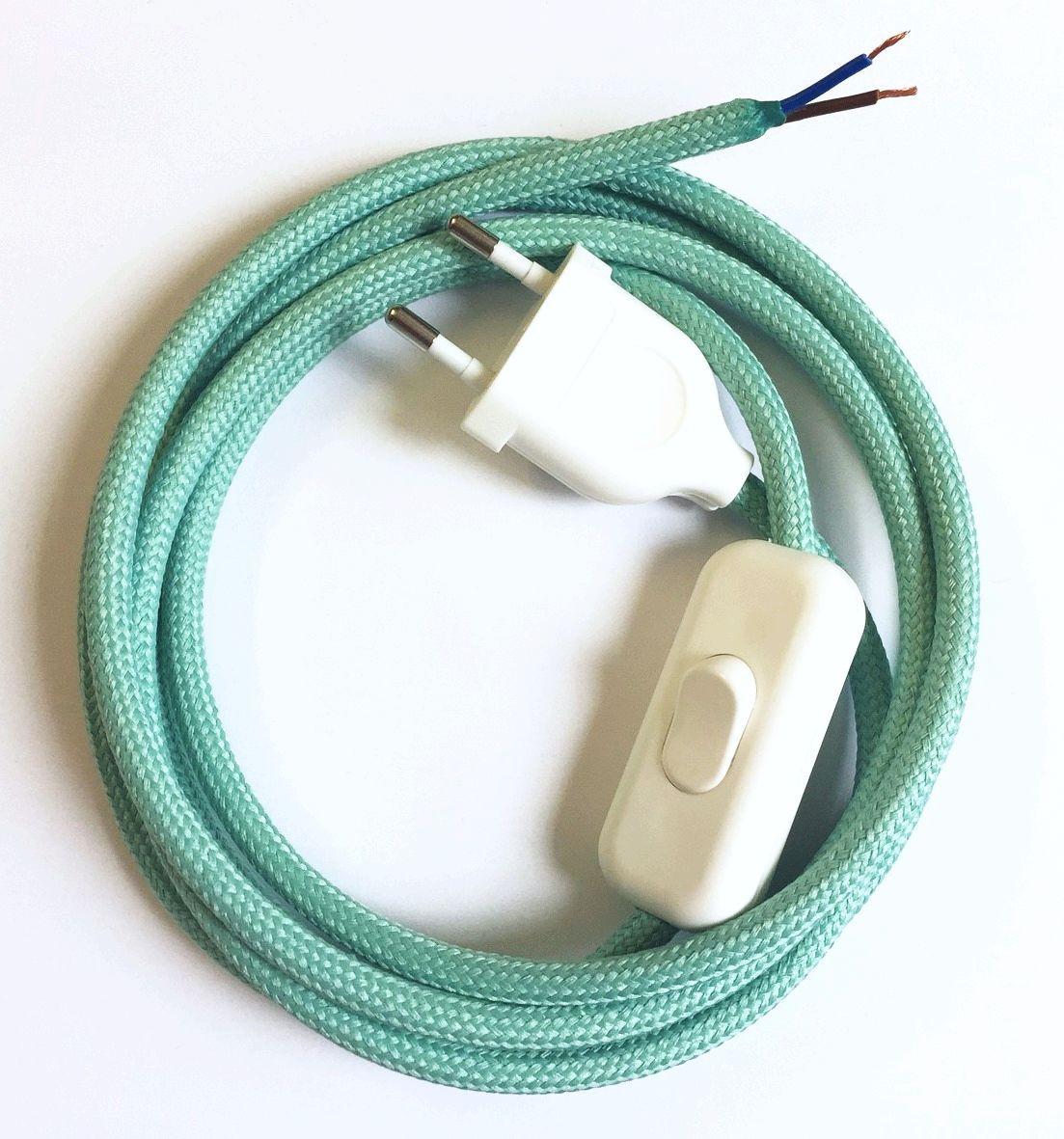 Anschlussleitung mit Stecker und Schnurschalter Mintgrün 2-adrig