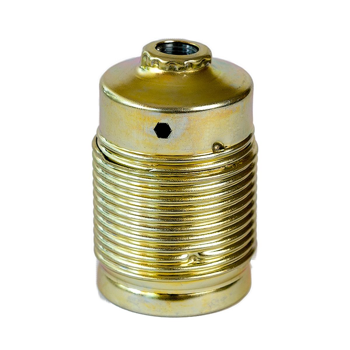 Metallfassung E27 zylindrisch mit Außengewinde gold