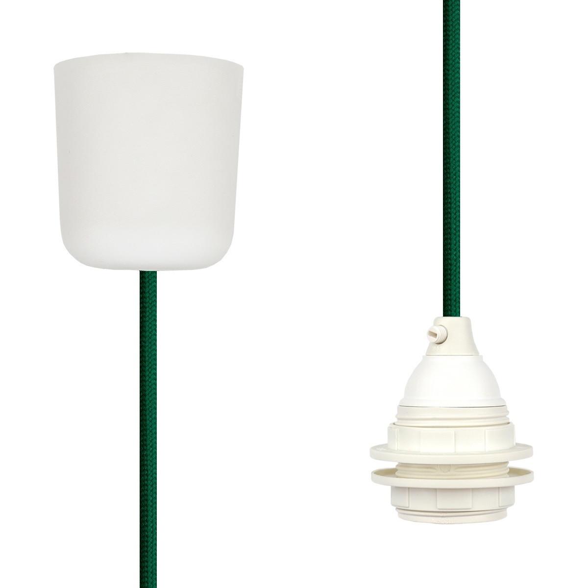 Textilkabel-Hängeleuchte Kunststoff grün