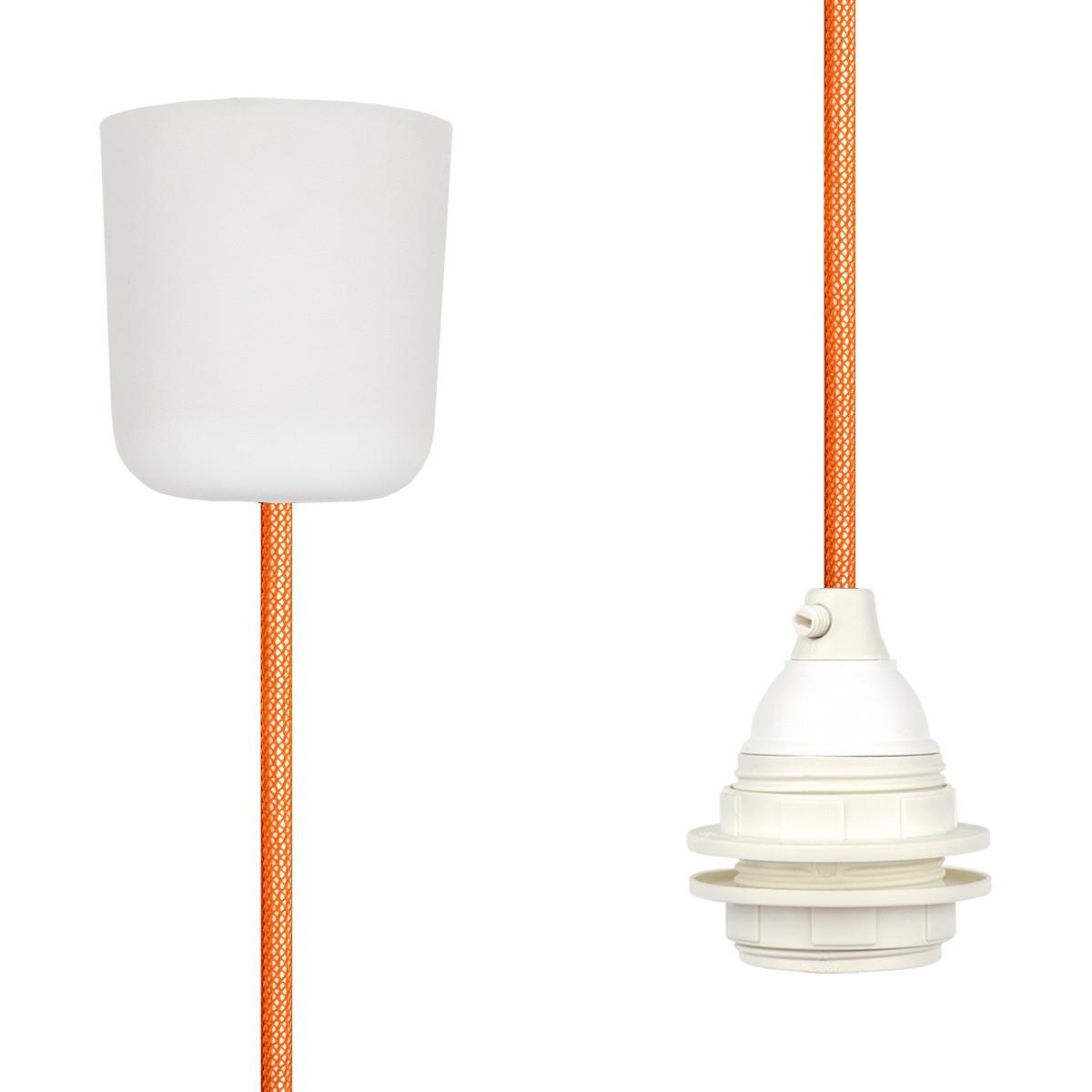 Textilkabel-Hängeleuchte Kunststoff orange netzartig