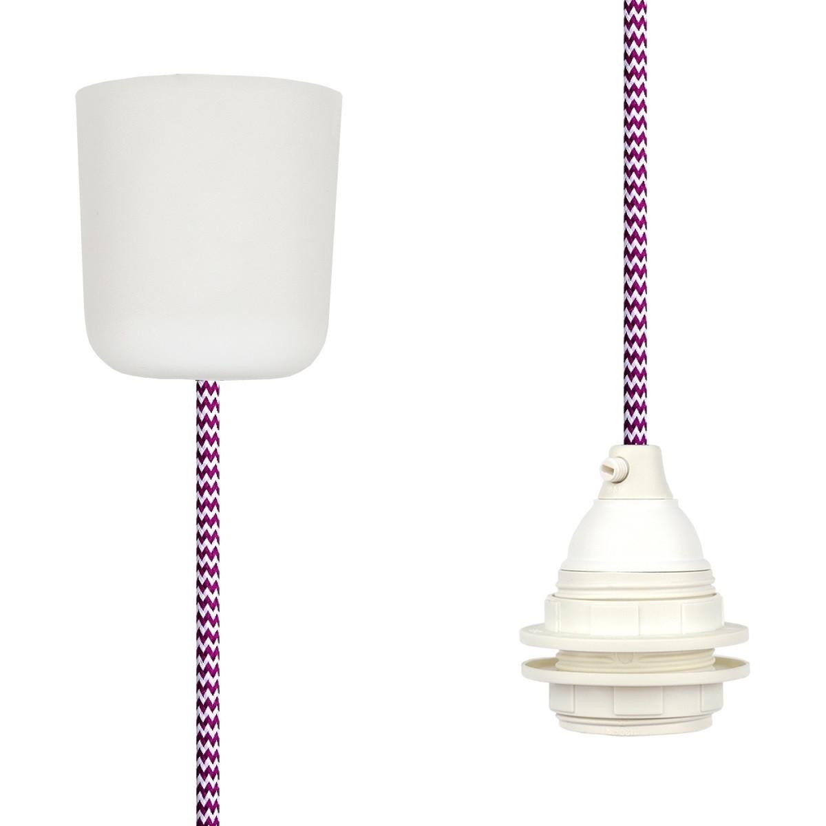 Textilkabel-Hängeleuchte Kunststoff weiß-kirschrot zick zack