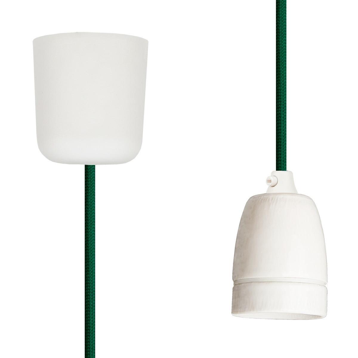 Textilkabel-Hängeleuchte Porzellan grün