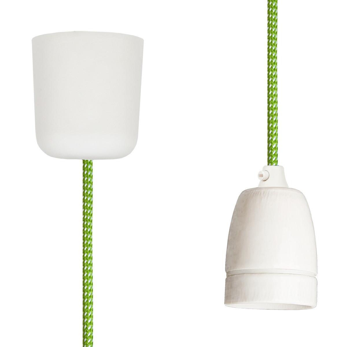 Textilkabel-Hängeleuchte Porzellan grün-weiß gepunktet