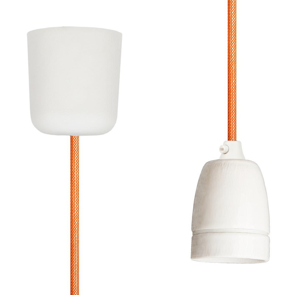 Textilkabel-Hängeleuchte Porzellan orange netzartig