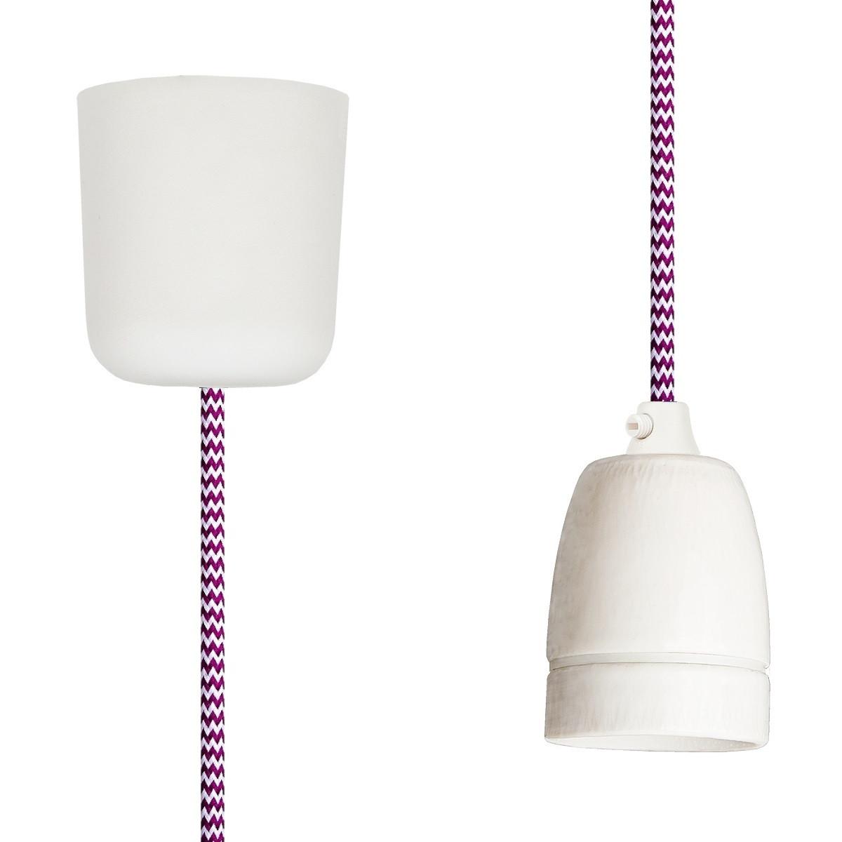 Textilkabel-Hängeleuchte Porzellan weiss-kirschrot zick zack