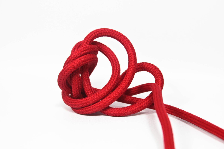 Textilkabel-Hängeleuchte Kunststoff rot