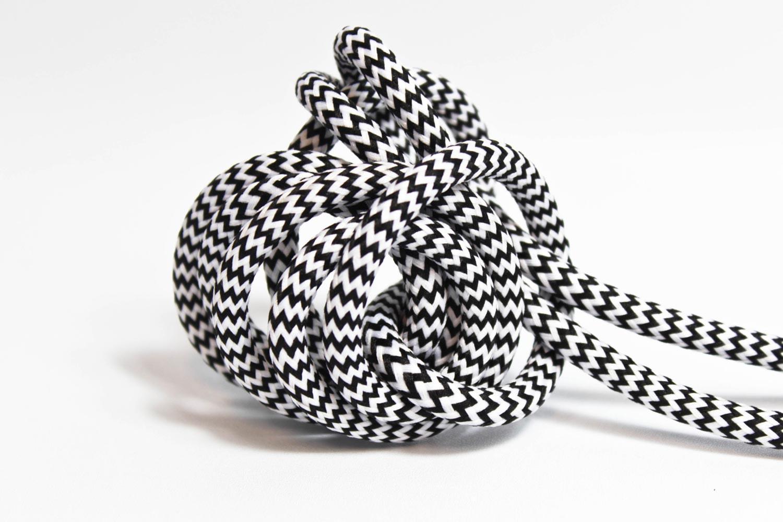 Textilkabel-Hängeleuchte Kunststoff schwarz-weiß zick zack