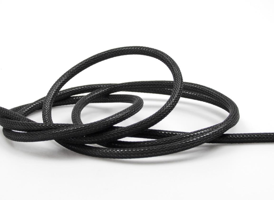 Textilkabel-Hängeleuchte Porzellan schwarz netzartig