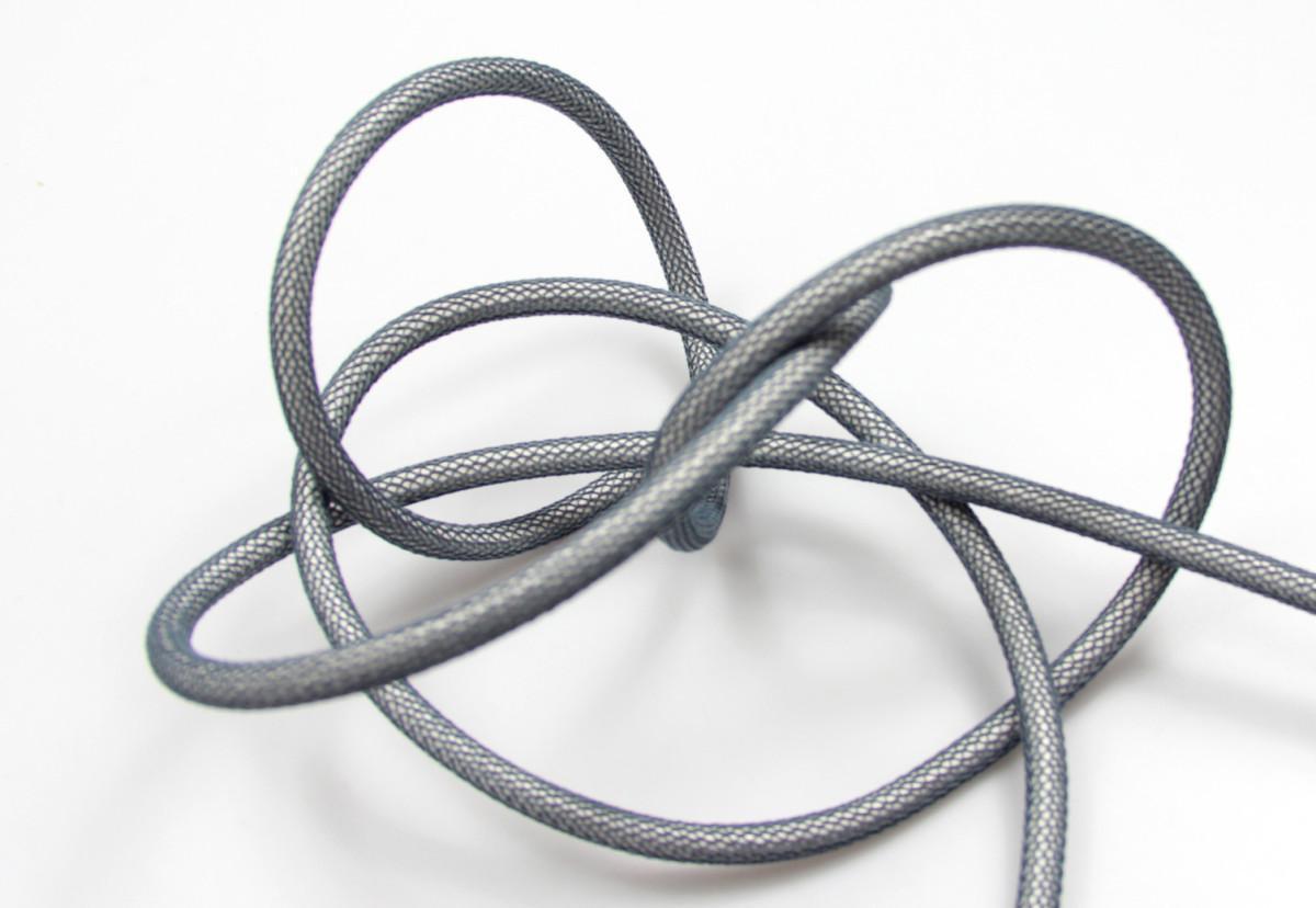 Textilkabel-Hängeleuchte Porzellan silber grau netzartig