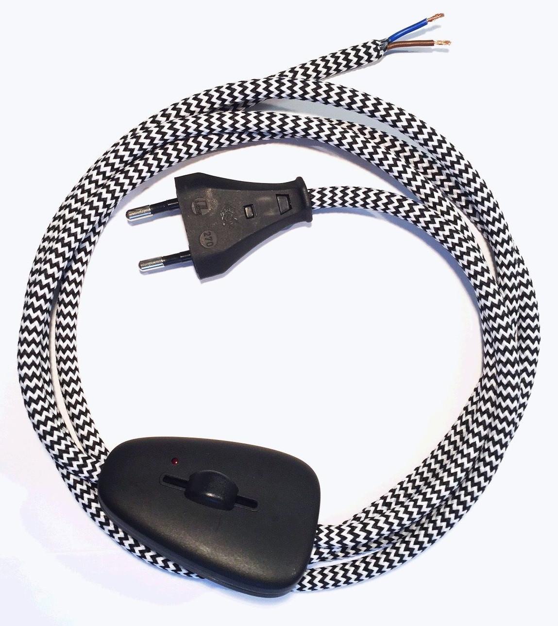Anschlussleitung mit Eurostecker und Dimmer Schwarz-Weiss Zick Zack 2-adrig