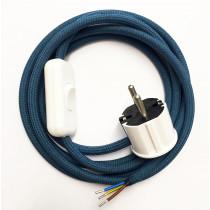 Anschlussleitung mit Stecker und Schnurschalter Azurblau 3-adrig