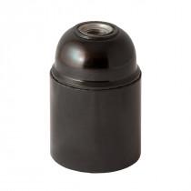 Bakelit Fassung E27 zylindrisch mit Glattmatel schwarz