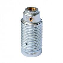 Metallfassung E14 zylindrisch mit Außengewinde silber