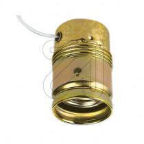Metallfassung E27 zylindrisch mit Glattmantel und Zugschalter gold