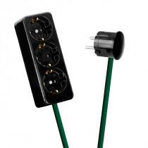 Schwarze Mehrfachsteckleiste 3-fach grün