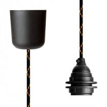 Textilkabel-Hängeleuchte Kunststoff schwarz orange
