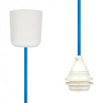Textilkabel-Hängeleuchte Kunststoff blautürkis