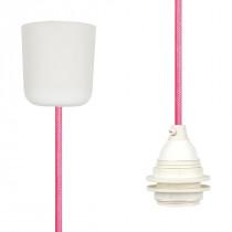 Textilkabel-Hängeleuchte Kunststoff neon pink