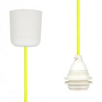 Textilkabel-Hängeleuchte Kunststoff neon-gelb netzartig