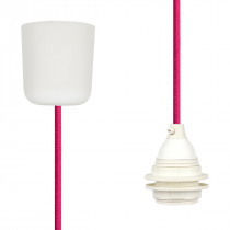 Textilkabel-Hängeleuchte Kunststoff pink
