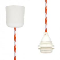 Textilkabel-Leuchtenpendel Kunststoff weiß orange