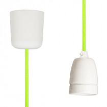 Textilkabel-Hängeleuchte Porzellan neongrün-gelb