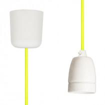 Textilkabel-Hängeleuchte Porzellan neon-gelb netzartig