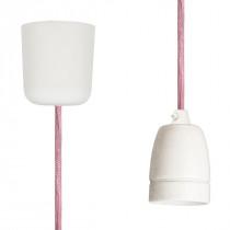 Textilkabel-Hängeleuchte Porzellan pastelrosa netzartig