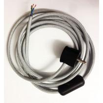 Anschlussleitung mit Schuko Stecker und Schnurschalter Silber 3-adrig 2m