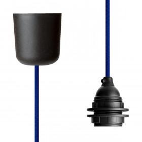 Textilkabel-Hängeleuchte Kunststoff blau