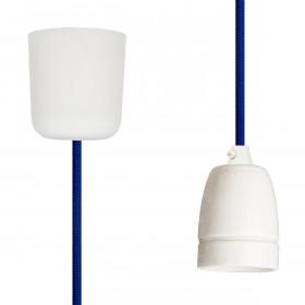 Textilkabel-Hängeleuchte Porzellan blau