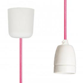 Textilkabel-Hängeleuchte Porzellan neon pink