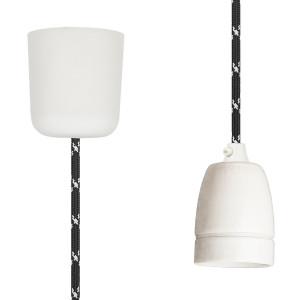 Textilkabel-Hängeleuchte Porzellan schwarz weiß
