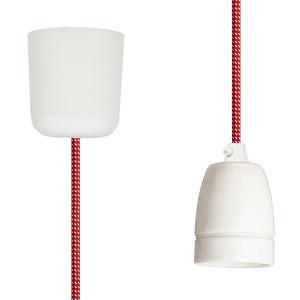 Textilkabel-Hängeleuchte Porzellan rot-weiss gepunktet
