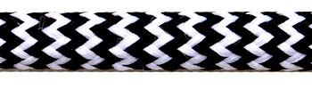 Textilkabel Schwarz-Weiß Zick Zack