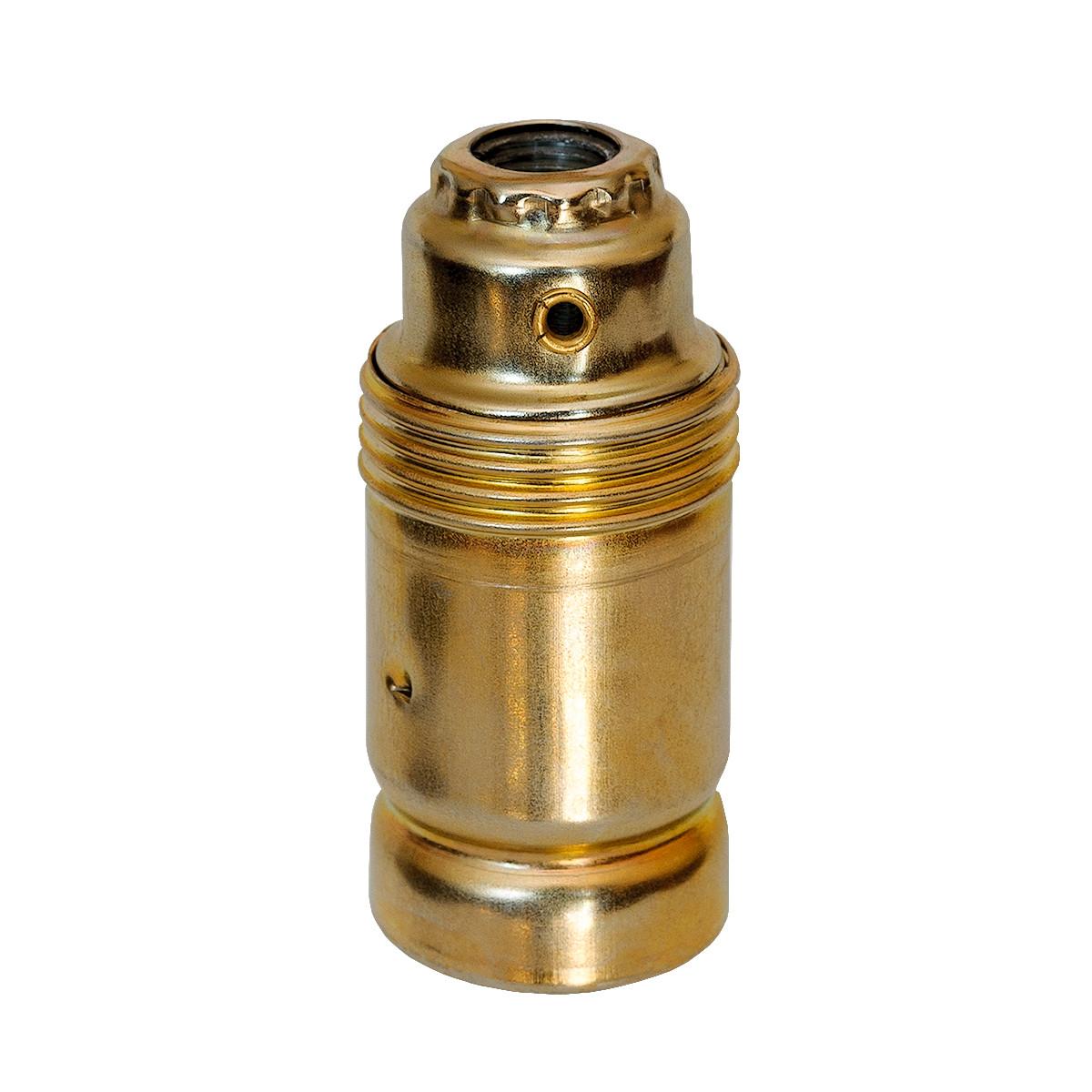 Metal Lamp Holder E14 Cylinder Shape Unthreaded Gold