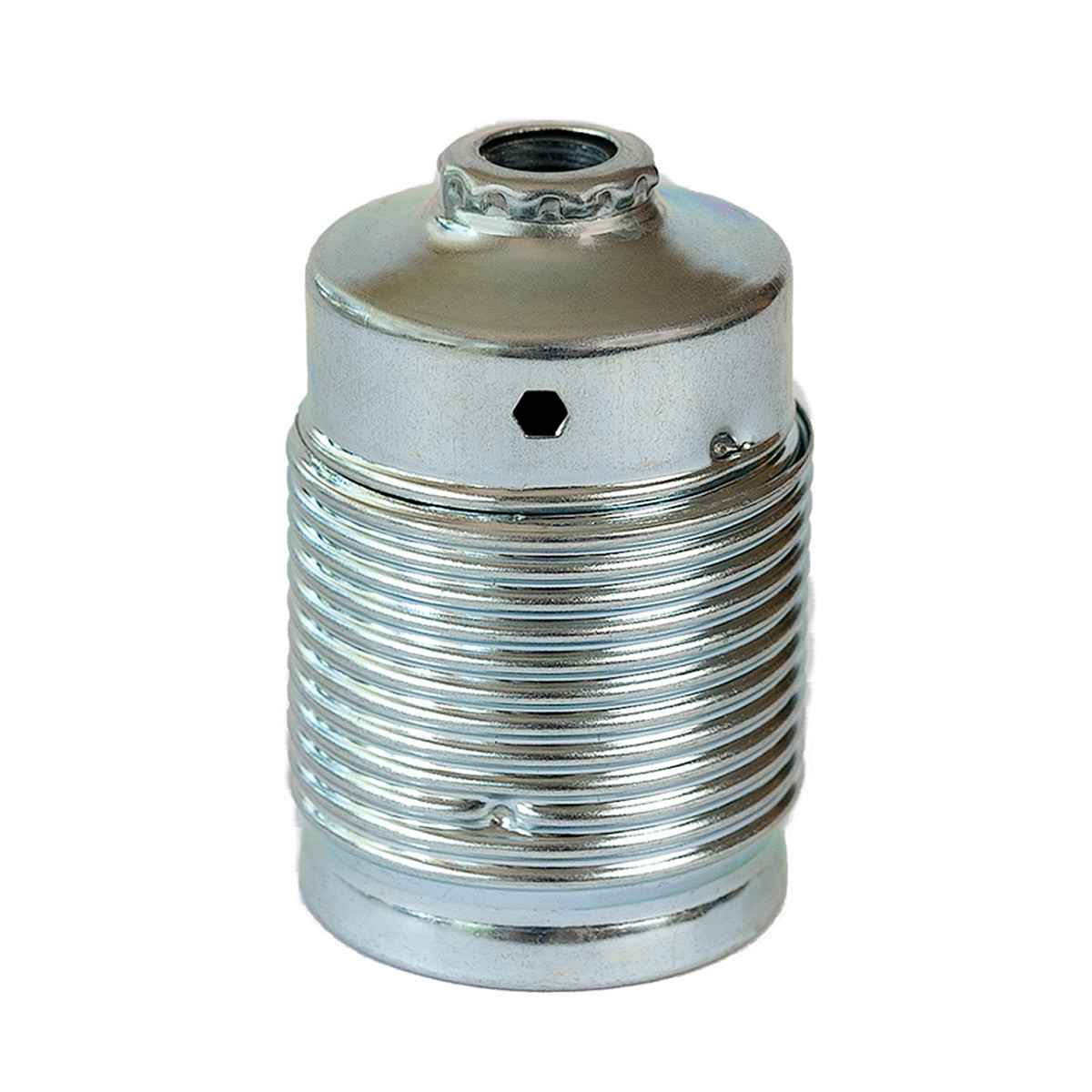 Metal Lamp Holder E27 Cylinder Shape with External Thread Silver