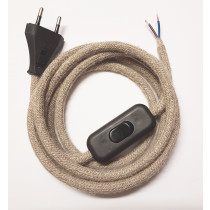 Assembled Supply Cord with Plug and Inline Cord Switch Linen 2 Core 2m