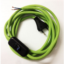 Assembled Supply Cord with Plug and Inline Cord Switch Apple Green 2 Core 3m