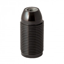 Plastic Lamp Holder E14 With External Thread Black Glossy