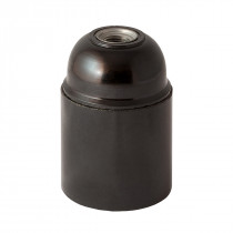 Bakelite Lamp Holder E27 Cylindrical Unthreaded Black