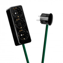 Black 3-Way Socket Outlet Green