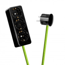 Black 3-Way Socket Outlet Light Green