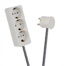 White 3-Way Socket Outlet Black-White Zig Zag