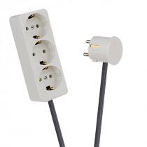 White 3-Way Socket Outlet Dark Grey