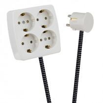 White 4-Way Socket Outlet Black-White Spots