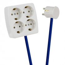 White 4-Way Socket Outlet Blue